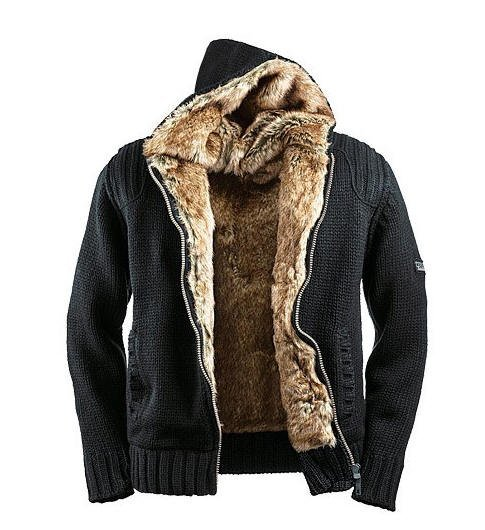 купить мужская вязаная куртка с капюшоном.